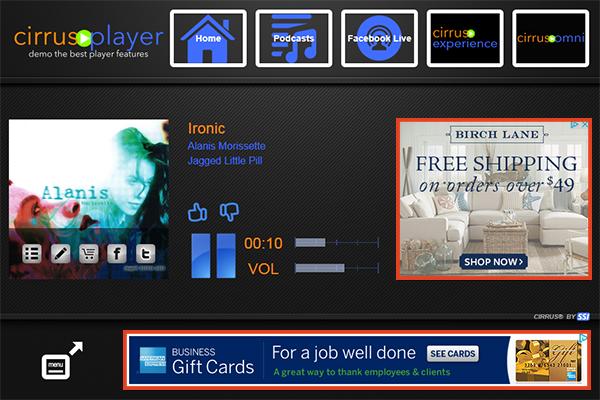 Cirrus Player ads