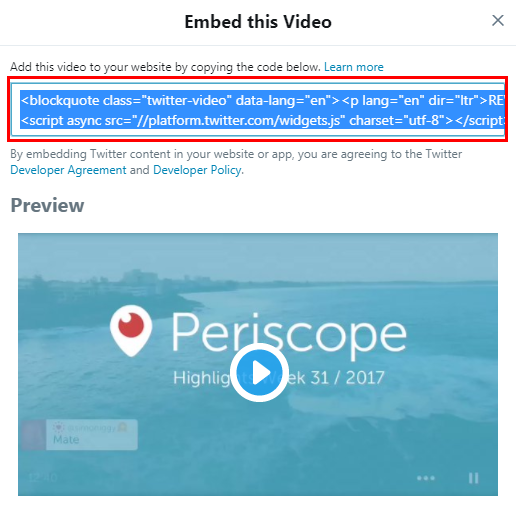 New Player Feature - Periscope Added to Players